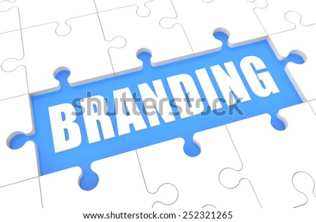 Branding - puzzle 3d render illustration with word on blue background - stock photo