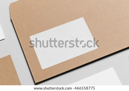 Branding / Stationery Mock-Up - Kraft & White. Close-Up - DL Envelope, Compliments Slip (99x210mm), Business Cards (85x55mm)