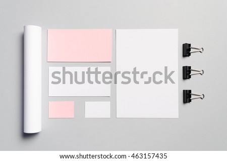 Branding / Stationery Mock-Up - Pink & White  Letterhead (A4), DL Envelope, Compliments Slip (99x210mm), Business Cards (85x55mm), Mailing Tube