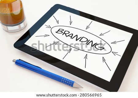 Branding - text concept on a mobile tablet computer on a desk - 3d render illustration. - stock photo