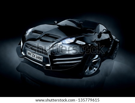 Brandless sports car - stock photo
