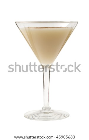 Brandy Alexander cocktail on white background