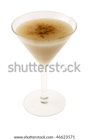 Brandy Alexander cocktail with nutmeg on white background - stock photo