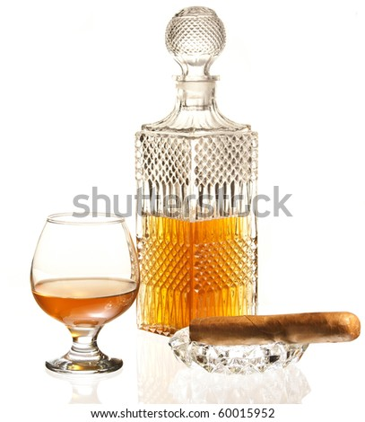 Brandy and Cigar - stock photo