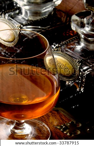 brandy and old decanters - stock photo