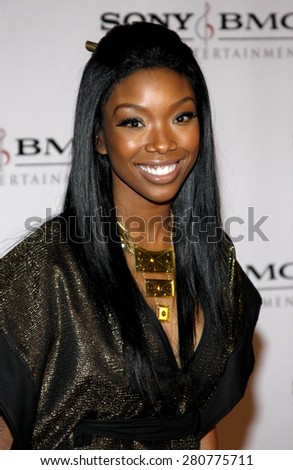 Brandy at the 2008 Sony/BMG Grammy After Party held at the Beverly Hills Hotel in Beverly Hills on February 10, 2008. - stock photo