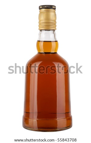 Brandy bottle isolated on a white background - stock photo