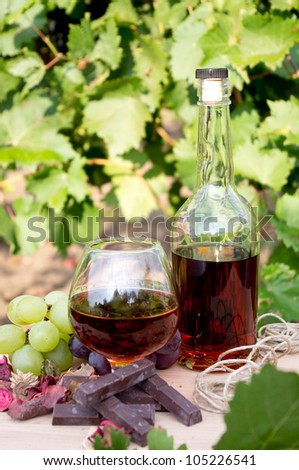 Brandy, chocolate and grapes on a background of vineyard