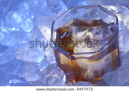 brandy glass in ice