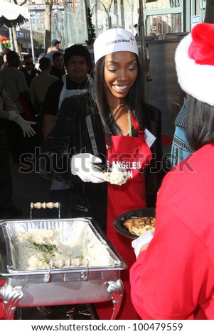 Brandy Norwood at the Christmas Eve For Homeless Served at Los Angeles Mission, Los Angeles, CA. 12-24-10