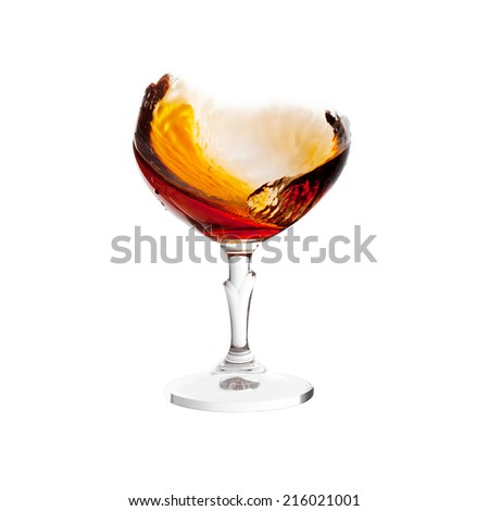 brandy splash in glass without glass isolated on white background - stock photo