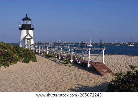 Brant Point Lighthouse is one of the most famous lighthouses in Massachusetts. - stock photo