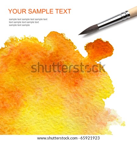 brash and watercolor paint - stock photo