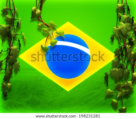 Brasil Flag Backdrop Image - stock photo