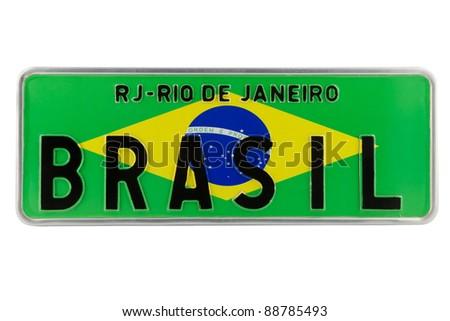 Brasil flag on a license plate - stock photo