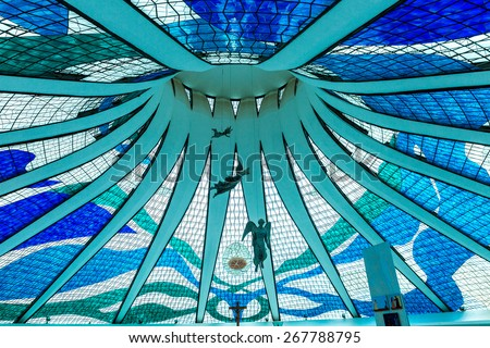 BRASILIA, BRAZIL - CIRCA MARCH 2015: Cathedral of Brasilia in Brasilia, Brazil. It was designed by Oscar Niemeyer, and was completed and dedicated on May 31, 1970. - stock photo