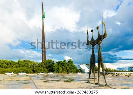 BRASILIA, BRAZIL - CIRCA MARCH 2015: Square of the Three Powers in Brasilia, the capital of Brazil - stock photo