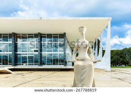 BRASILIA, BRAZIL - CIRCA MARCH 2015: Supreme Federal Tribunal in Brasilia, Brazil. - stock photo