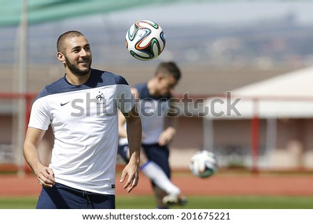 BRASILIA, BRAZIL - JUNE 29, 2014: Benzema of France during training ahead of the World Cup Round of 16 game at the Center for Physical Training of the Fire Department. NO USE IN BRAZIL.