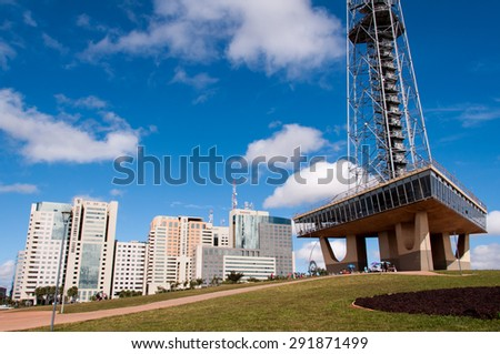 BRASILIA, BRAZIL - JUNE 3, 2015: Brasilia Television Tower. It was built in 1967, the observation platform was opened in 1965. The Tower is the third tallest structure in Brazil and is 224m height. - stock photo