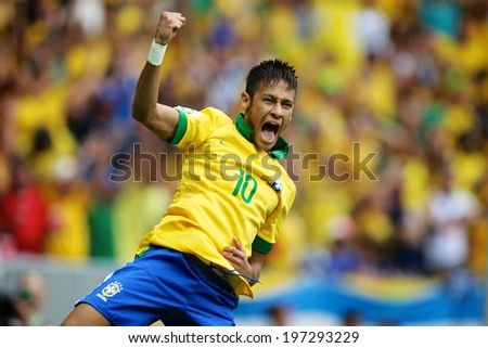 BRASILIA, BRAZIL - June 15, 2013: Brazil's forward Neymar celebrates after scoring a goal against Japao during the Confederations Cup soccer match at Estadio Nacional Mane Garrincha. No Use In Brazil.