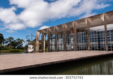 BRASILIA, BRAZIL - June 7, 2015: Itamaraty Palace, the headquarters of the Ministry of External Relations. The building was designed by famous architect Oscar Niemeyer, and inaugurated in 1970. - stock photo
