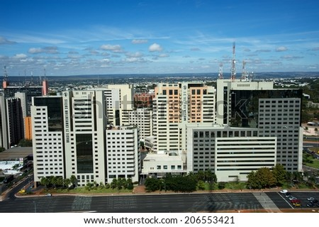 BRASILIA, BRAZIL - JUNE 17: Panoramic of the Melia Hotels complex located in the South Hotel Sector of Brasilia during the 2014 FIFA World Cup at Brasilias FIFA Fan Fest, on June 17, 2014. - stock photo