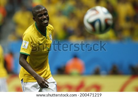BRASILIA, BRAZIL - June 23, 2014: Ramires of Brazil during the 2014 World Cup Group A game between Brazil and Cameroon at Estadio Nacional Mane Garrincha. No Use in Brazil.
