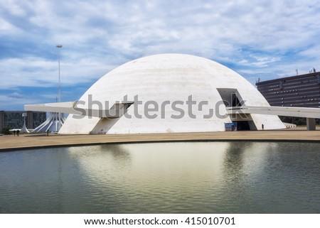 Brasilia, Brazil - November 17, 2015: The National Museum in Brasilia, capital of Brazil. Designed by Brazilian architect Oscar Niemeyer, the museum was inaugurated in 2006.  - stock photo