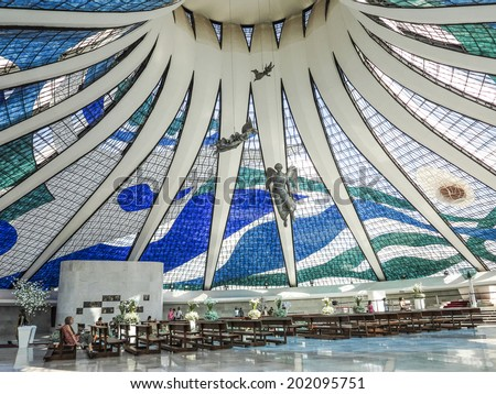 BRASILIA, BRAZIL - OCT 26, 2013: Cathedral of Brasilia in Brasilia, Brazil. It was designed by Oscar Niemeyer, and was completed and dedicated on May 31, 1970. - stock photo