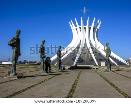 BRASILIA, BRAZL, JUNE 19, 2005. cathedral of brasilia city capital of brazil - stock photo