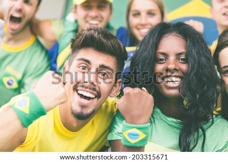 Brasilian Supporters at Stadium - stock photo