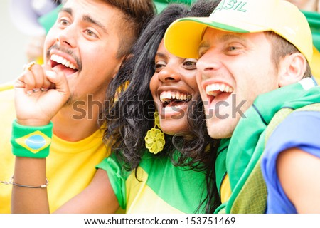 Brasilian Supporters at Stadium , Brazil - stock photo