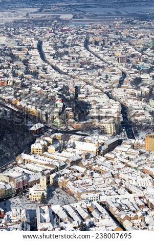 Brasov, aerial old city panoramic view, Romania - stock photo