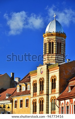 Brasov old city center with architecture detail, Romania (byzantine style from XIXth century) - stock photo