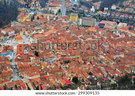 brasov, romania - march 5th, 2015: aerial view of the brasov city, romania in early spring. shot taken on march 5th, 2015 - stock photo