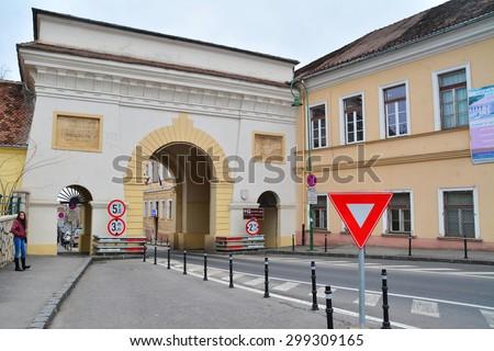 brasov, romania - march 5th, 2015: the famous schei gate in brasov, romania. shot taken on march 5th, 2015 - stock photo