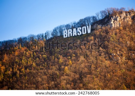 Brasov, Romania - November 7, 2012: Brasov sign on top of Tampa mountain on a sunny autumn day, Brasov, Romania - stock photo