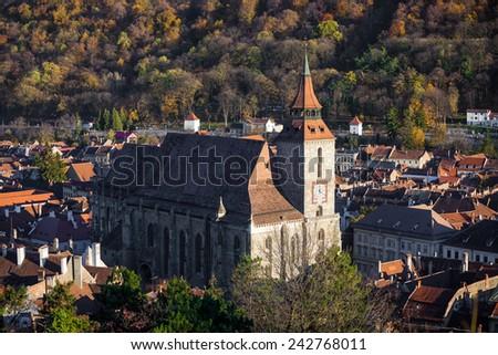 Brasov, Romania - November 7, 2012: The Black Church cathedral in Brasov medieval city, Transylvania, Romania. - stock photo