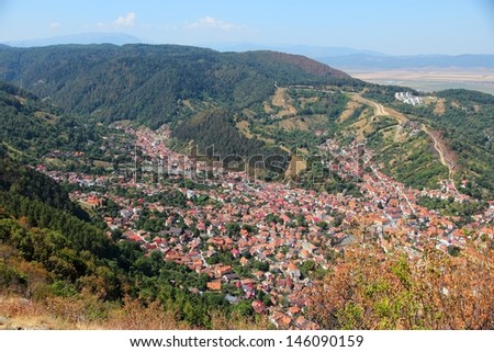 Brasov, town in Transylvania, Romania. Aerial view of famous Romanian town.