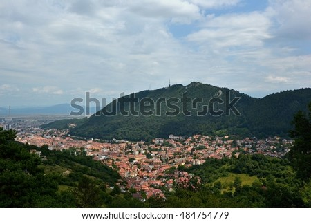 Brasov, Transilvanian city sourounded by Southern Carpathians. Tampa peak.