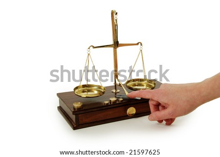 Brass and wood Scale used to weigh out small items - stock photo