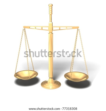 Brass antique scales - 3D render - stock photo