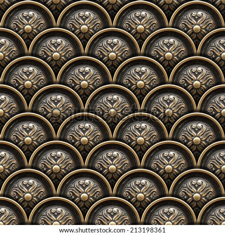 Brass Background with Classic Ornament / Texture of drawer of a beautiful carved floral work  - stock photo