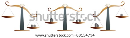 Brass balance scales isolated on white background - raster version - stock photo