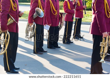 Brass Band of the boys involved in the parade. - stock photo