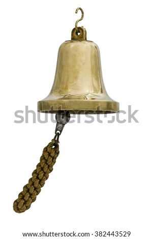 Brass bell, isolated on white background - stock photo