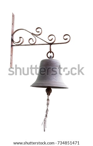 Brass Bell with rope isolated on white background