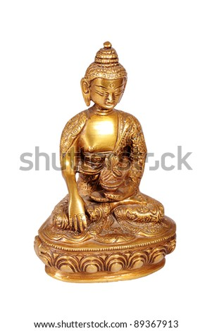 Brass Buddha statue isolated on white - stock photo