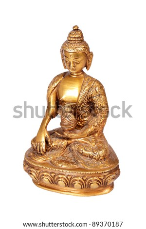 Brass Buddha statue isolated on white with clipping path - stock photo